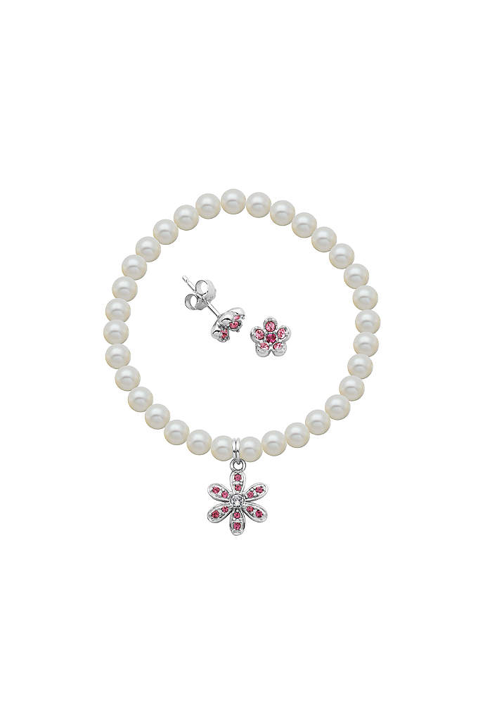 Crystal Flower and Pearl Bracelet and Earrings Set - This sweet set, comprised of crystal flower earrings