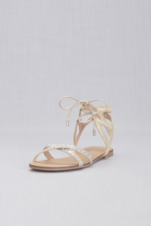 a38195000ce6 David s Bridal Ivory Flat Sandals (Ankle-Tie Jeweled Crisscross Sandals)