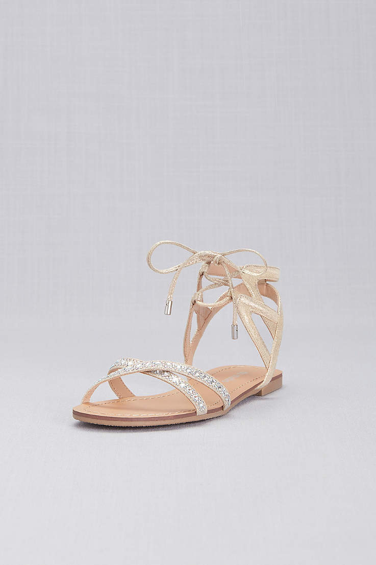 42a22ed08459 David's Bridal Ivory Flat Sandals (Ankle-Tie Jeweled Crisscross Sandals)