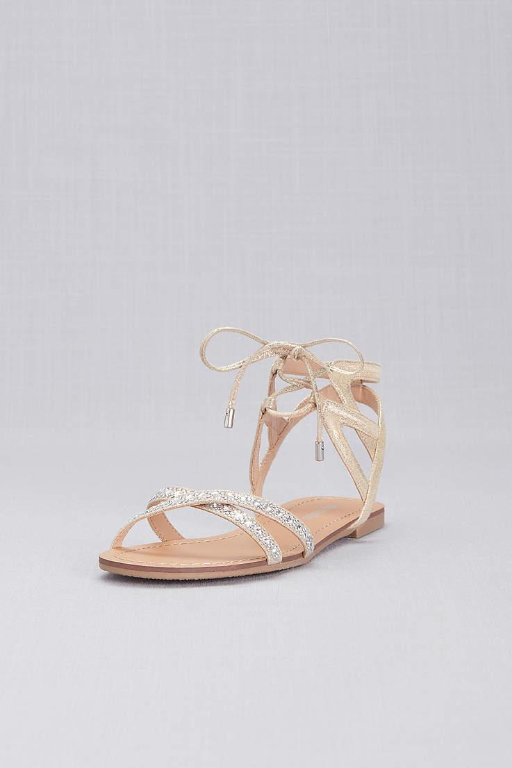 cca7d2effd84 David's Bridal Ivory Flat Sandals (Ankle-Tie Jeweled Crisscross Sandals)