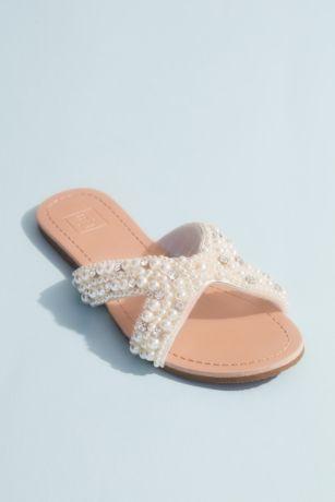 DB Studio Ivory Flat Sandals (Pearl Beaded Cutout Slide Sandals)