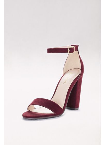 Bamboo Red (Simple Block-Heel Sandals with Ankle Strap)