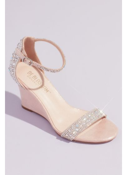 Pave Crystal Embellished Metallic Wedges - Pair these crystal-embellished metallic wedge sandals with any