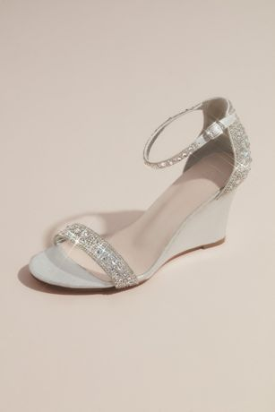 Blossom Grey;Pink Wedges (Pave Crystal Embellished Metallic Wedges)