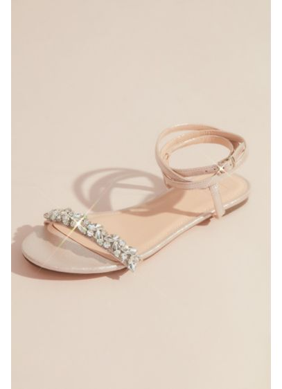 David's Bridal White (Shimmery Wrap-Around Flat Sandals with Crystals)