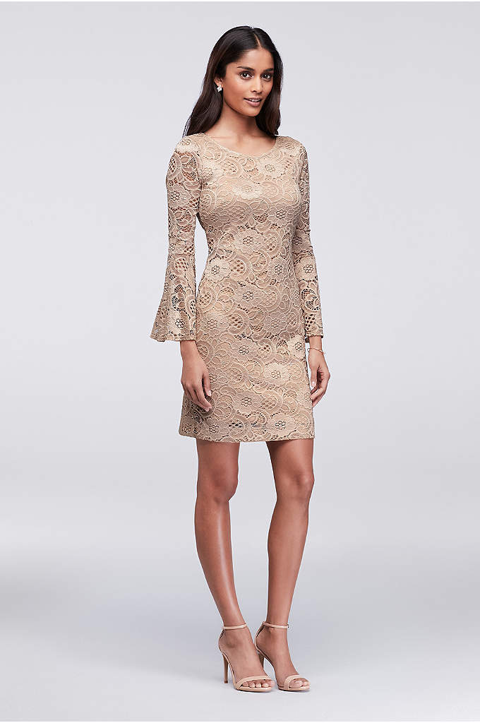 Bell Sleeve Lace Sheath Dress - Bell sleeves give this lace cocktail dress a