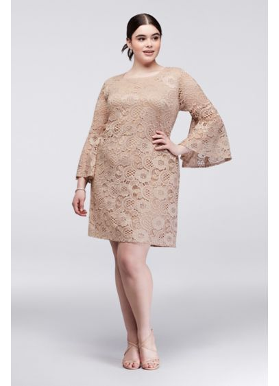 Bell Sleeve Plus Size Lace Sheath Dress | David\'s Bridal