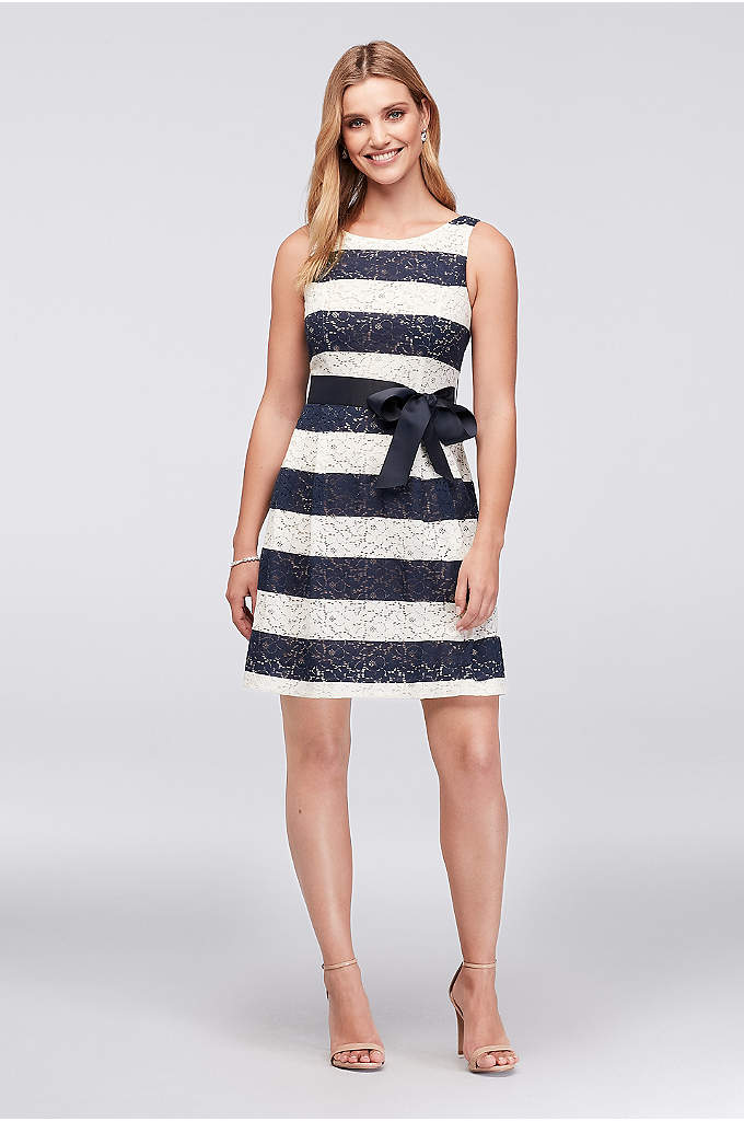 Striped Lace Fit-and-Flare Dress with Ribbon Sash