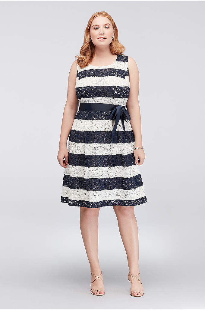 Striped Lace Plus Size Dress with Ribbon Sash