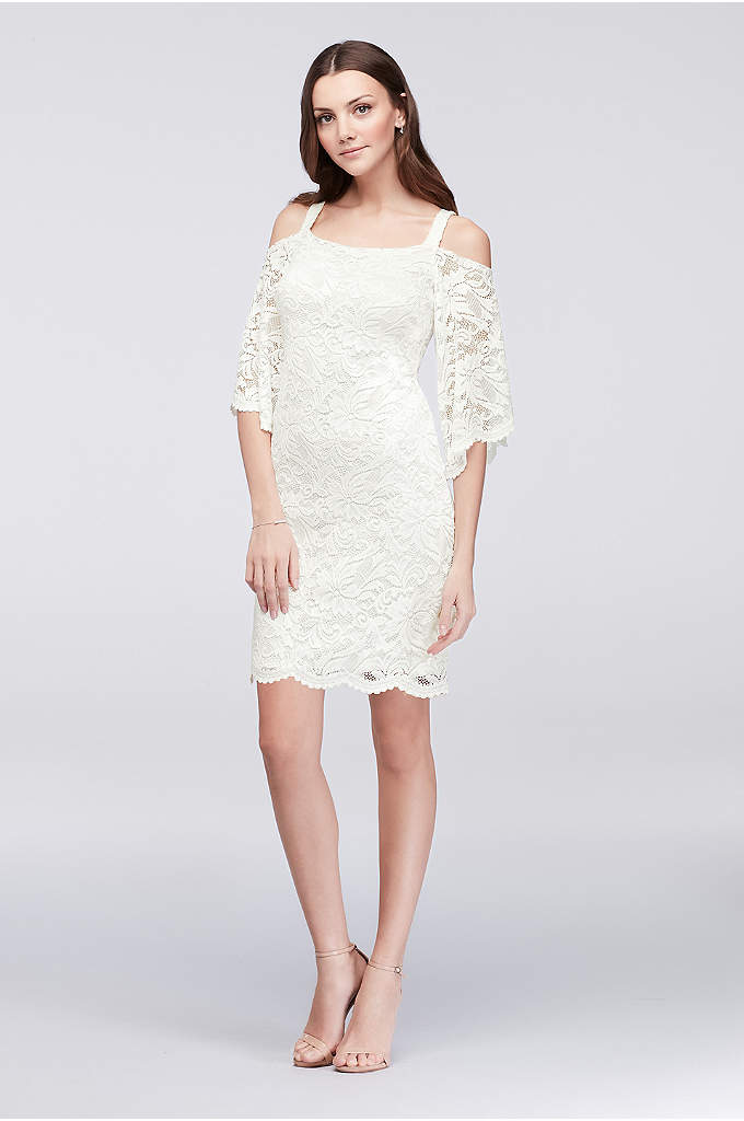 Cold-Shoulder LaceSheath Dress - A chic mix of classic and current, this