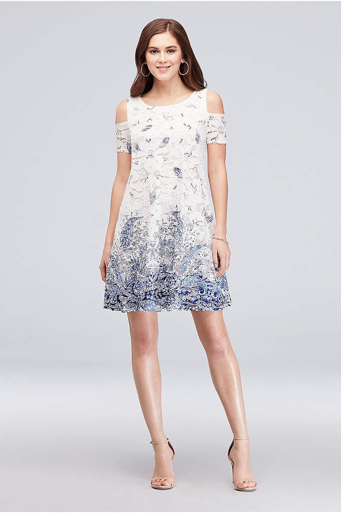 Printed Daisy Lace Cold-Shoulder Short Shift Dress - Daisy-themed lace and a paisley print come together