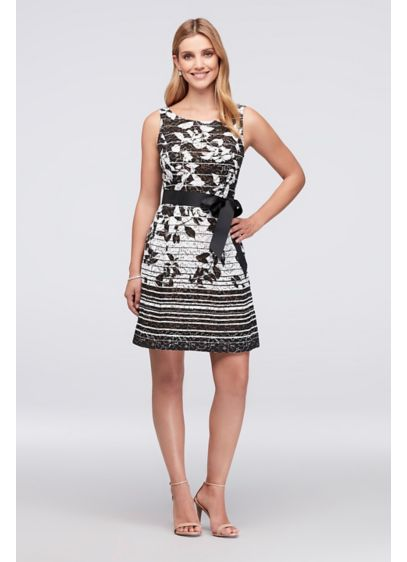 Floral Striped Ombre Lace Fit-and-Flare Dress - Stripes of alternating widths add interest to the