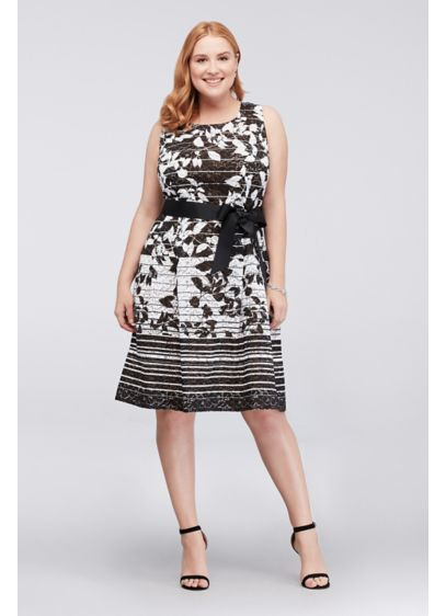 Floral Striped Ombre Lace Plus Size Dress
