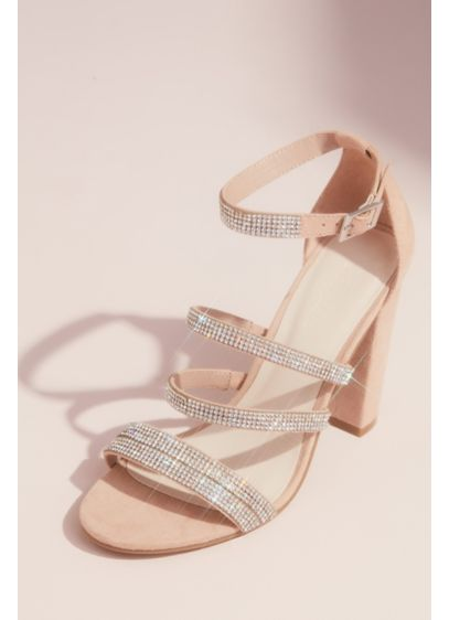 David's Bridal Beige (Sueded Block Heel Sandals with Crystal Straps)