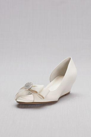 "David's Bridal Grey;Ivory Wedges (Bow-Embellished Satin D""Orsay Wedges)"
