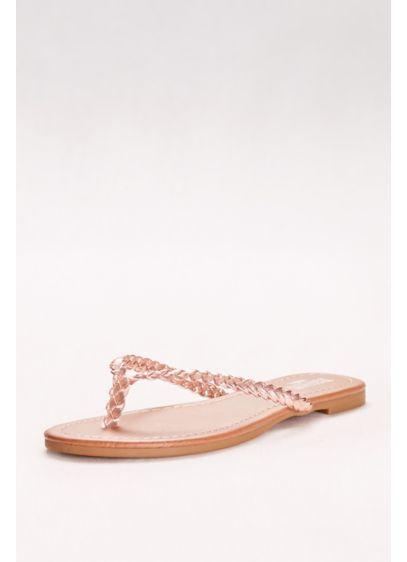 299e1501b20b David s Bridal Pink (Metallic Braided Flip-Flops)