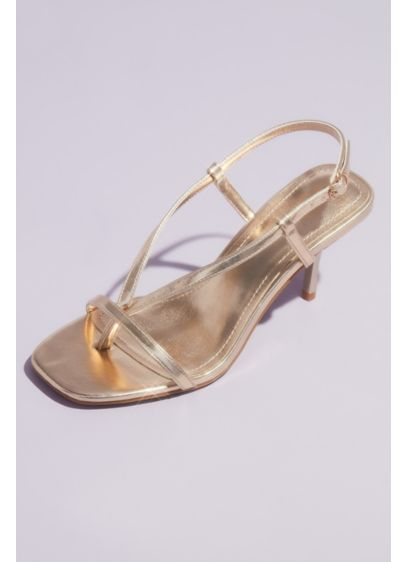 Bamboo Yellow (Thong-Style Metallic Slingback Kitten Heel Sandals)