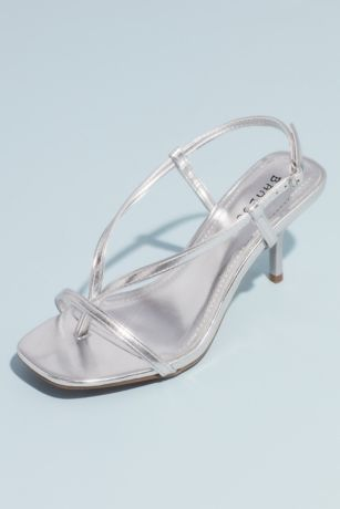 Bamboo Grey;Yellow Heeled Sandals (Thong-Style Metallic Slingback Kitten Heel Sandals)