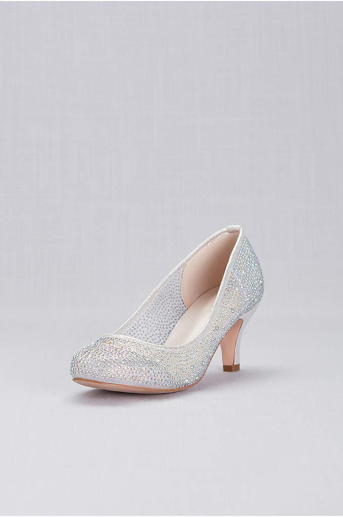 Round-Toe Low-Heel Crystal Pumps