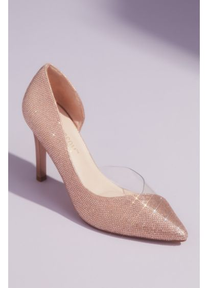 Blossom Pink (Tonal Crystal Pointed Toe Heels with Clear Detail)