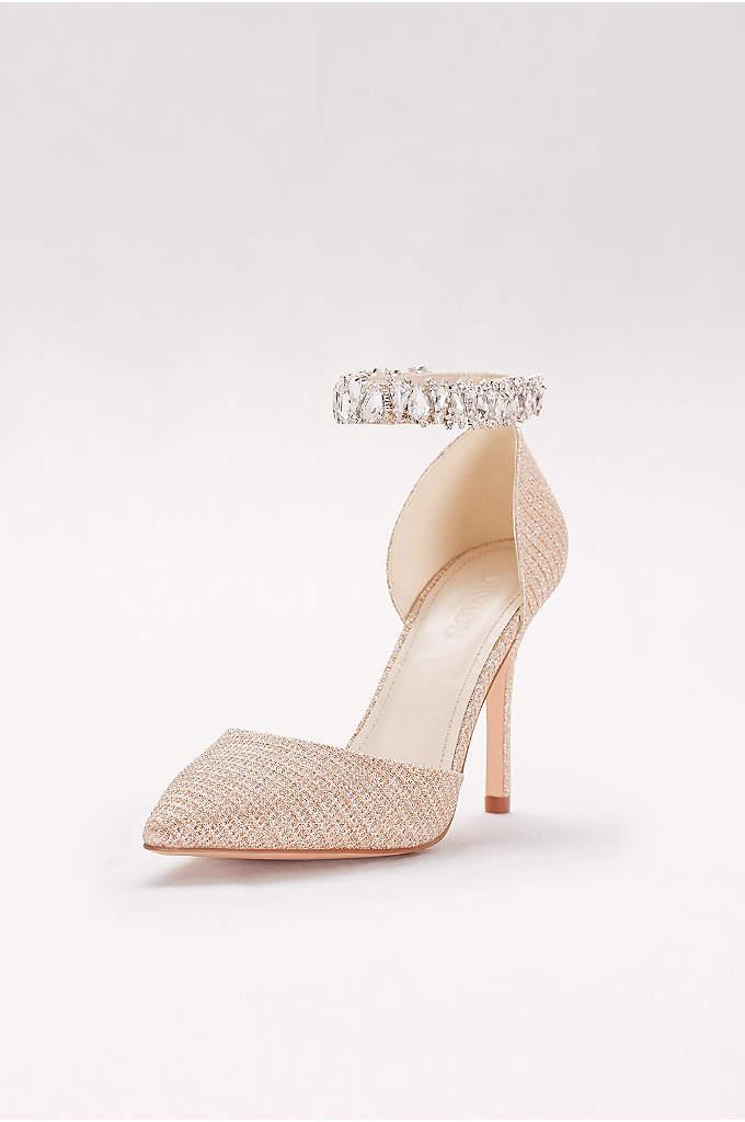 Textured Glitter Crystal Ankle Bracelet Heels