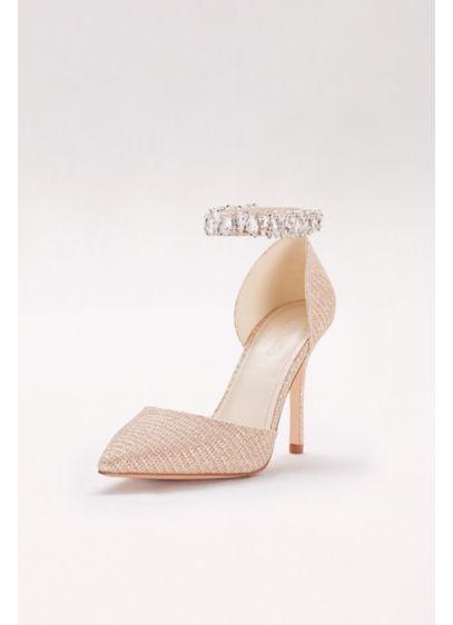 David's Bridal Beige (Textured Glitter Crystal Ankle Bracelet Heels)
