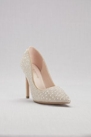 Beige;Grey (Pointed-Toe Pumps with Pearl and Crystal Detail)