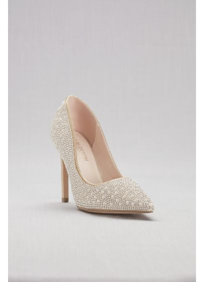 Blossom Beige (Pointed-Toe Pumps with Pearl and Crystal Detail)