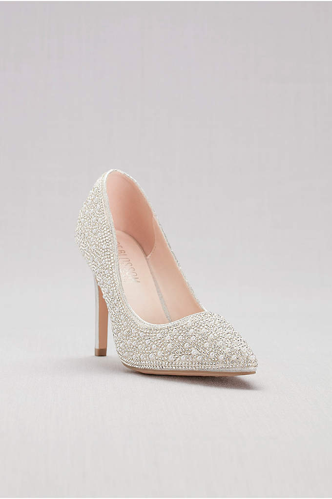 Pointed-Toe Pumps with Pearl and Crystal Detail - These pearl- and-crystal-studded heels are ready to make