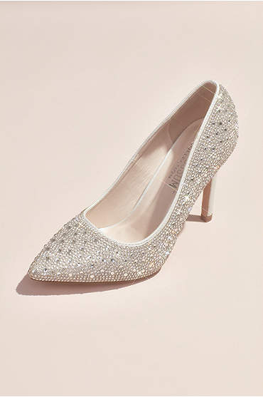 Crystal Detailed Satin Pointed-Toe Pumps