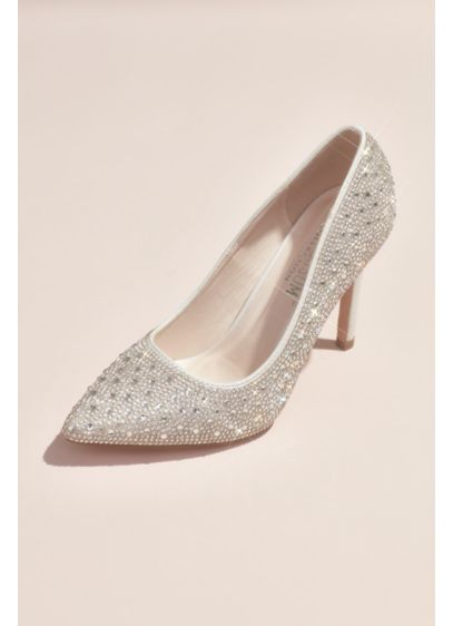 David's Bridal White (Crystal Detailed Satin Pointed-Toe Pumps)
