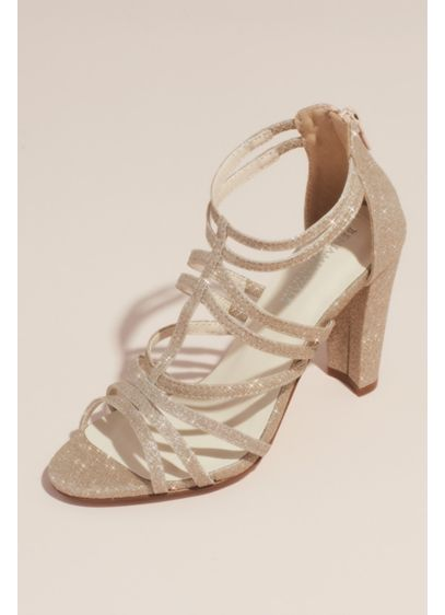 Touch Ups Ivory (Strappy High-Heeled Glittery Gladiator Sandals)