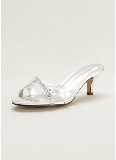 David's Bridal White (Embellished Dyeable Low Heel Sandal)