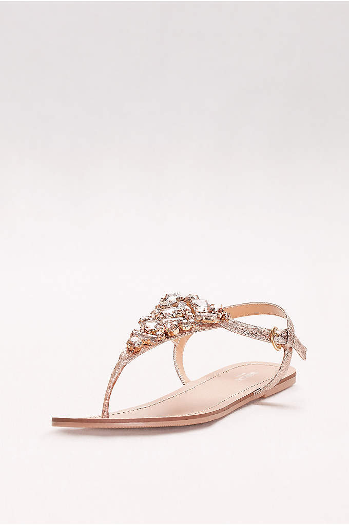 Jeweled Metallic Ankle-Strap Thong Sandals - Big, bold gems gleam from the vamp of