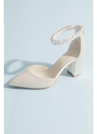 Jewel Badgley Mischka Ivory (Pointed Toe Satin Block Heels with Crystal Strap)