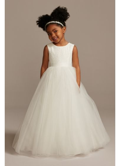 578b7d8e63e4 Banded Lace Illusion Flower Girl Dress