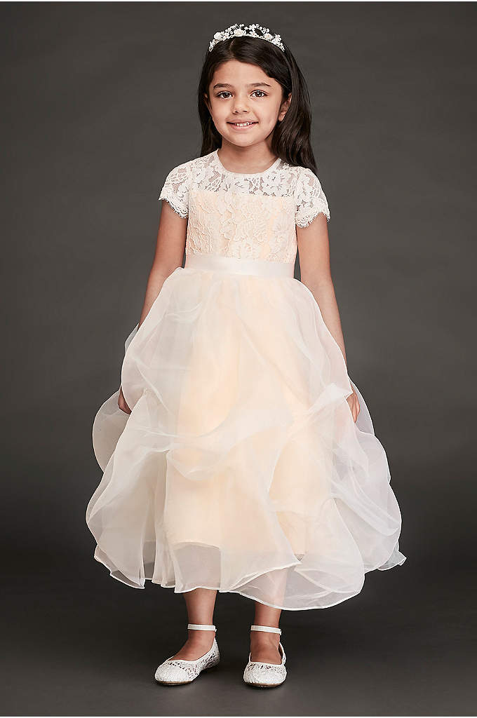 Lace and Organza Pick-Up Flower Girl Dress - With a lace top and a dreamy organza