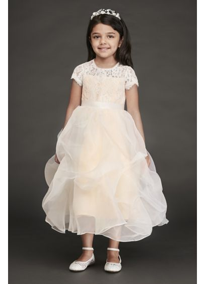 a979db09e1d Lace and Organza Pick-Up Flower Girl Dress. RK1380. Long Sheath Long  Sleeves Dress - David s Bridal