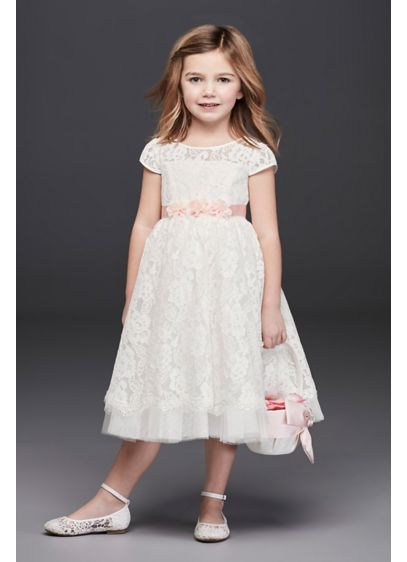Lace Flower Girl Ball Gown with Illusion Sleeves - With its allover corded rose lace, illusion cap