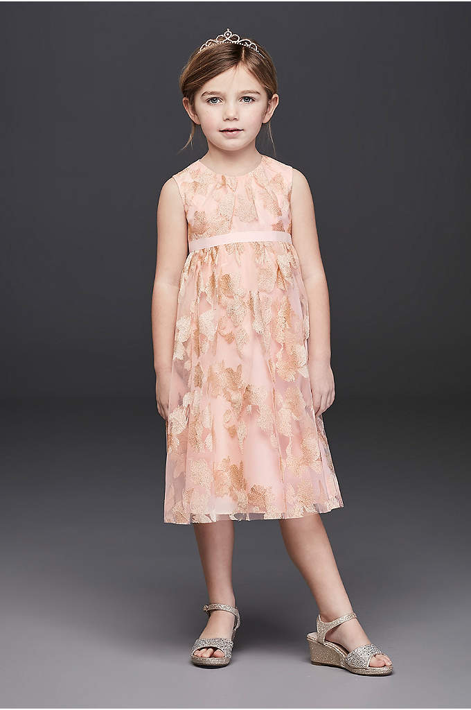 Metallic Embroidered Tulle Flower Girl Dress - This aisle-ready A-line flower girl dress features allover
