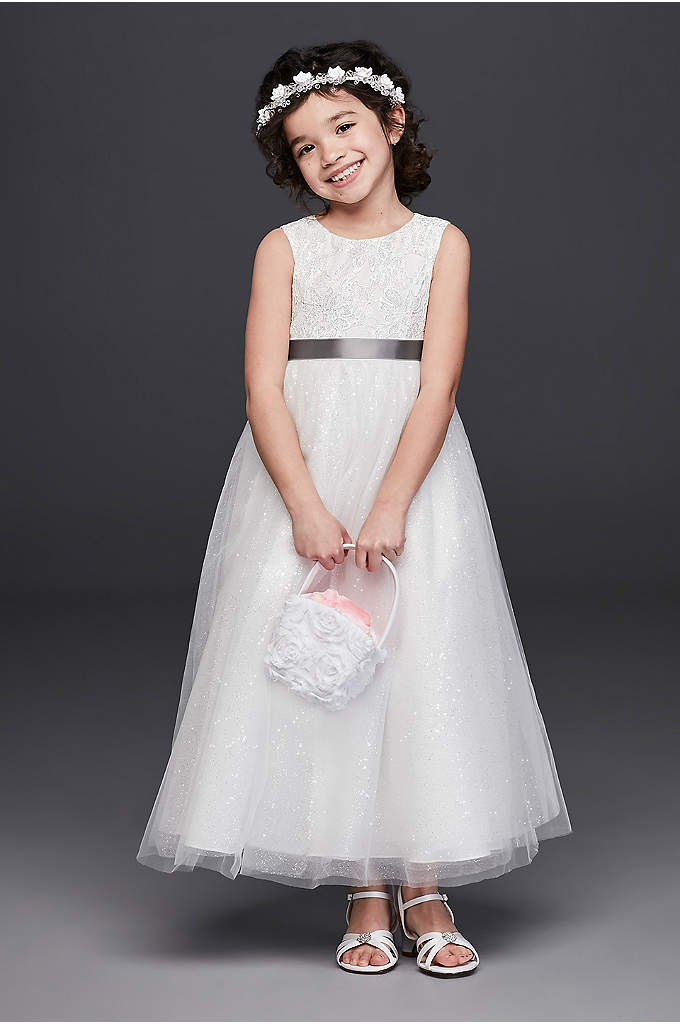 Tulle and Lace Flower Girl Dress with Heart Cutout