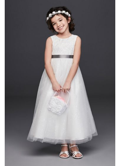 e9e693045e6d Tulle and Lace Flower Girl Dress with Heart Cutout