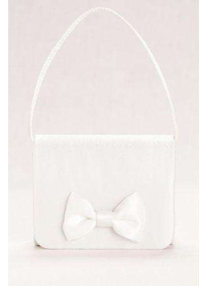 David's Bridal White (Satin Flower Girl Handbag with Bow Detail)