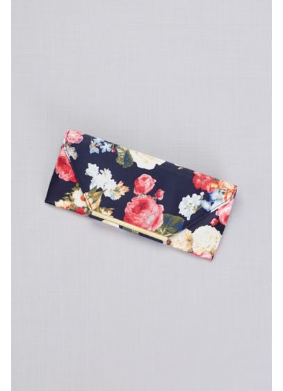 Floral Satin Clutch with Gold Accents - Wedding Accessories