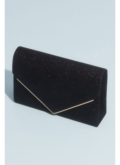 Glitter Knit Envelope Clutch with Metal Edge - Made from a glittery knit fabric, this envelope
