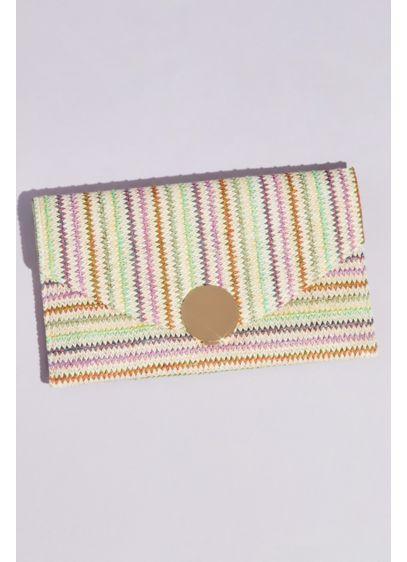 Rainbow Raffia Big Button Envelope Clutch - Wedding Accessories