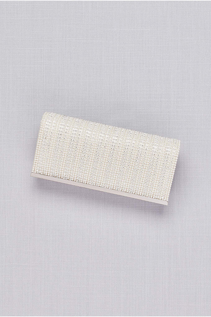 Pearl and Crystal Stripe Satin Clutch - Stash your wedding-day must-haves in this lustrous satin