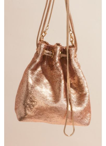 Drawstring Crossbody Sequin Bucket Bag - Wedding Accessories