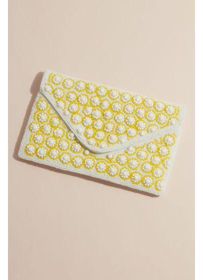 Allover Beaded Mini Daisy Envelope Clutch - So cheerful! This allover beaded clutch features mini