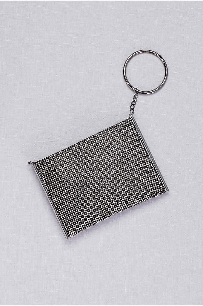 Metallic Mesh O-Ring Convertible Bag - This sparkling metallic mesh bag switches from a